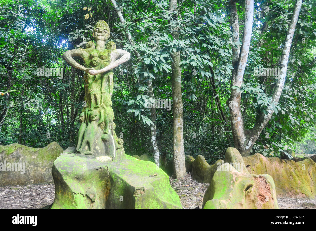 Sculptures in Osun Sacred Grove, UNESCO site in Oshogbo, Nigeria, dedicated to the Yoruba goddess of fertility - Stock Image