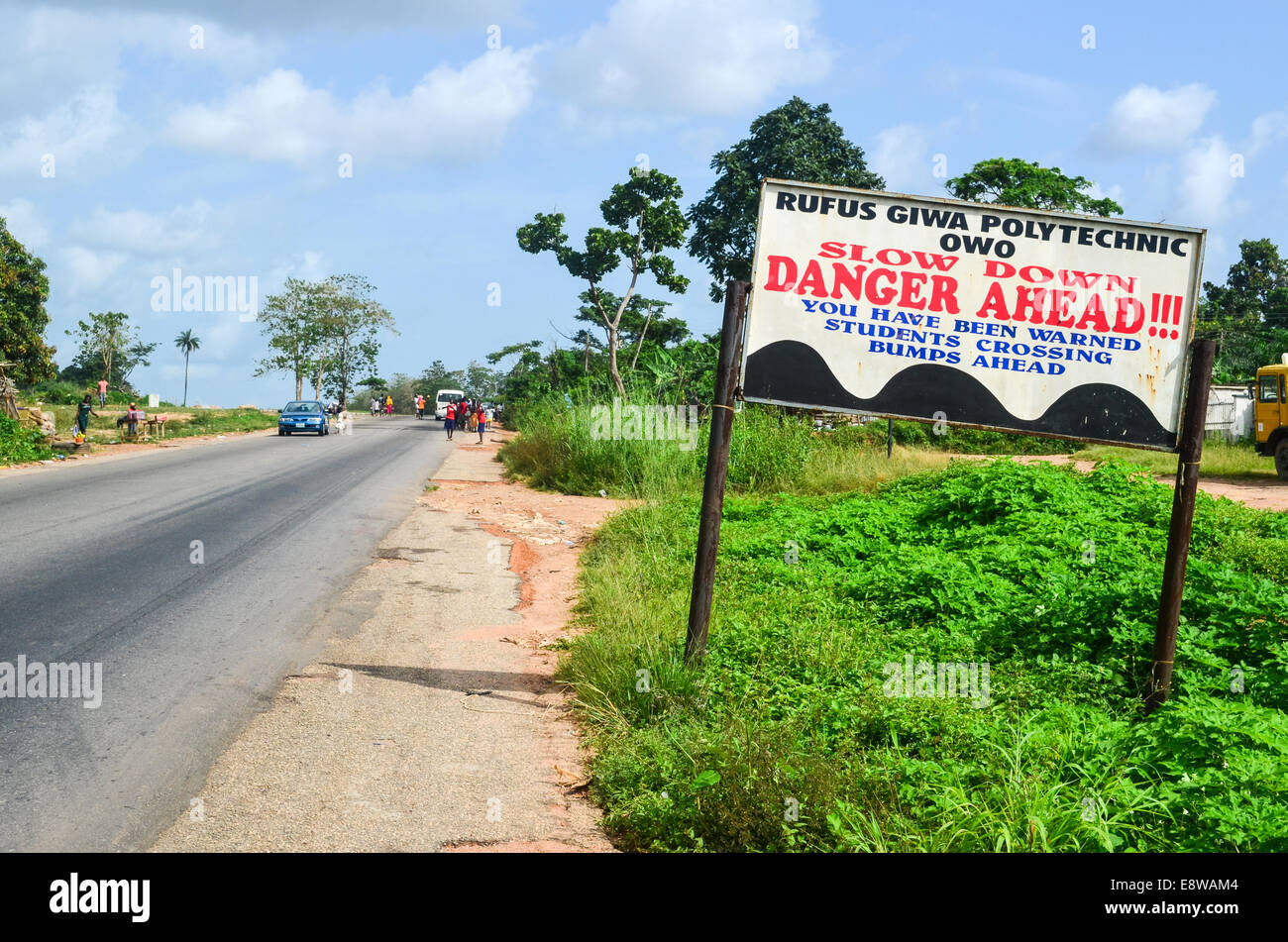 'Danger ahead' sign at a polytechnic school in Nigeria - Stock Image