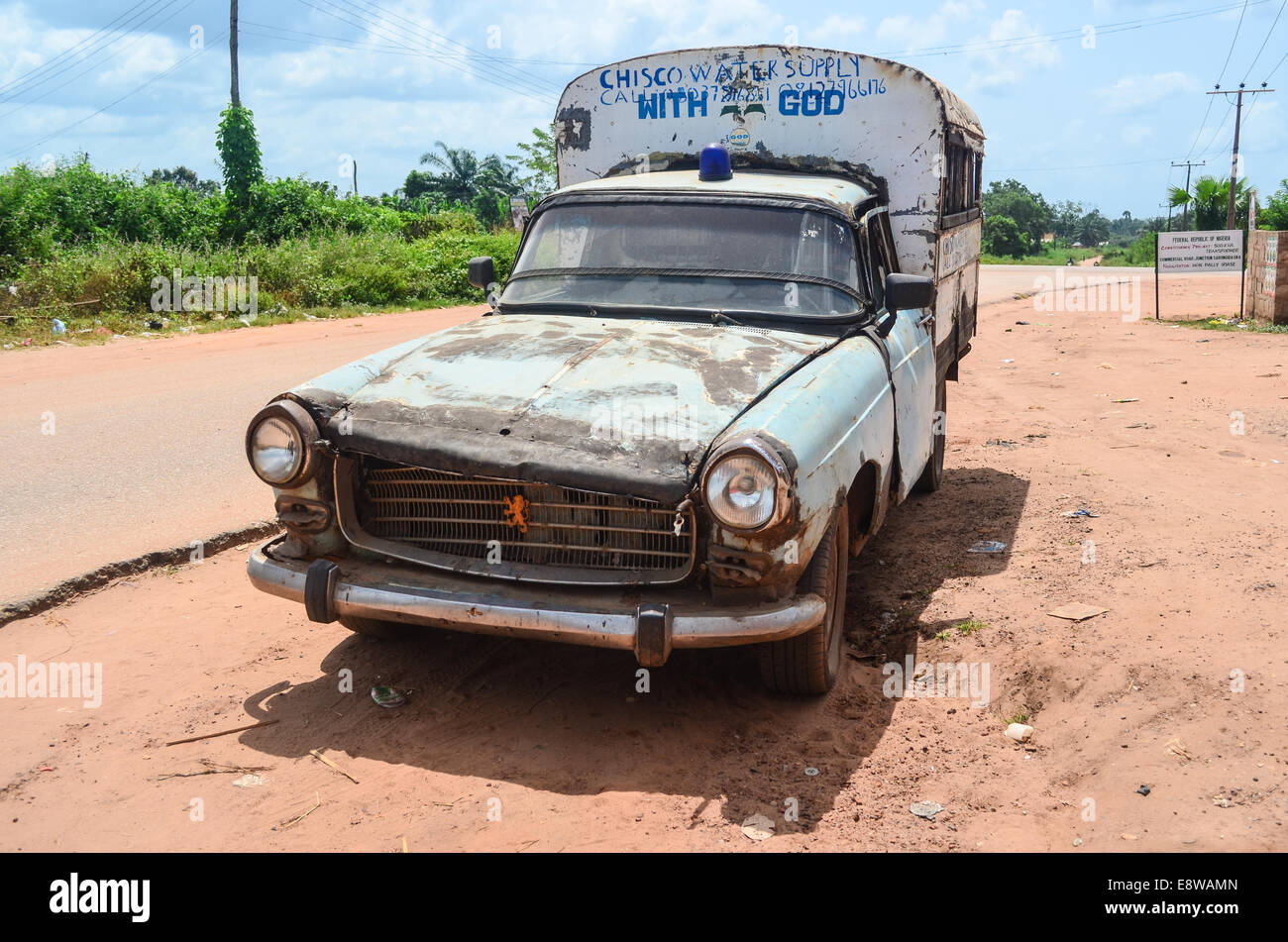 Rural Nigeria An Old Peugeot 504 Running With God Near Sabon Gida