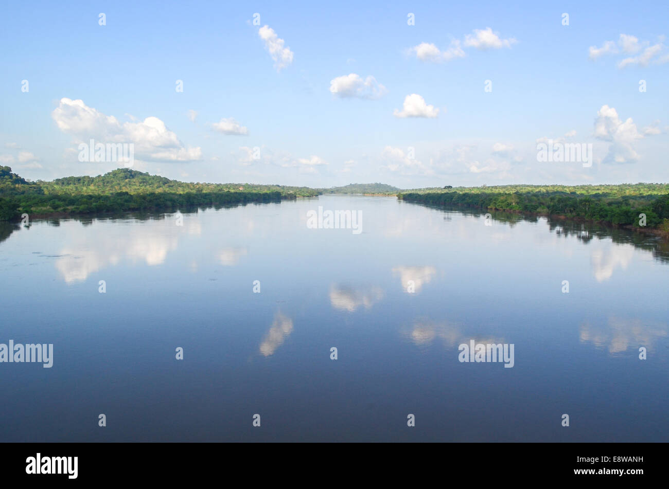 The Cross River in Nigeria from a modern bridge - Stock Image