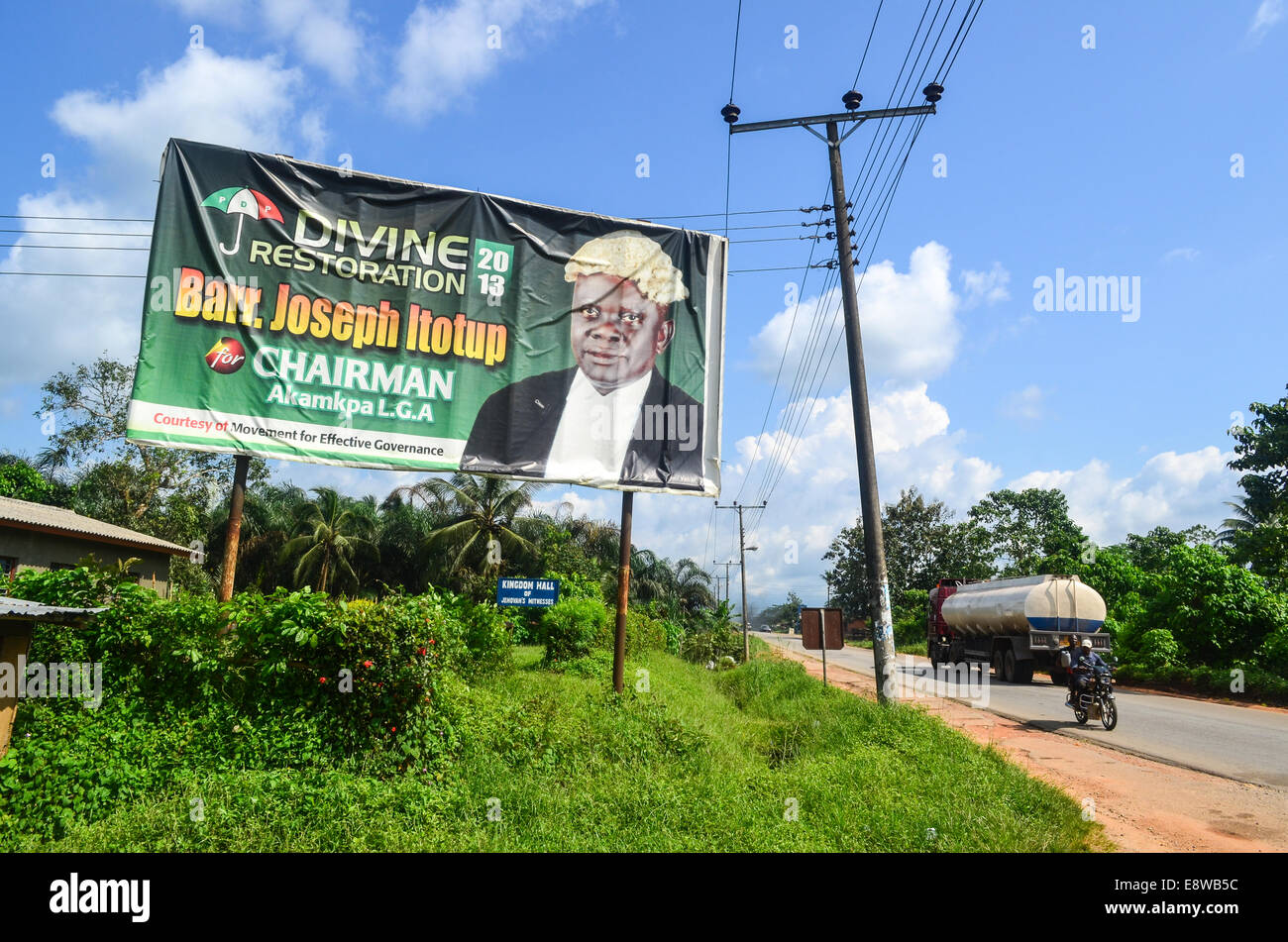 Divine restoration road sign with Barr. Joseph Itotup for the Akampa LGA local elections in the Cross River state - Stock Image