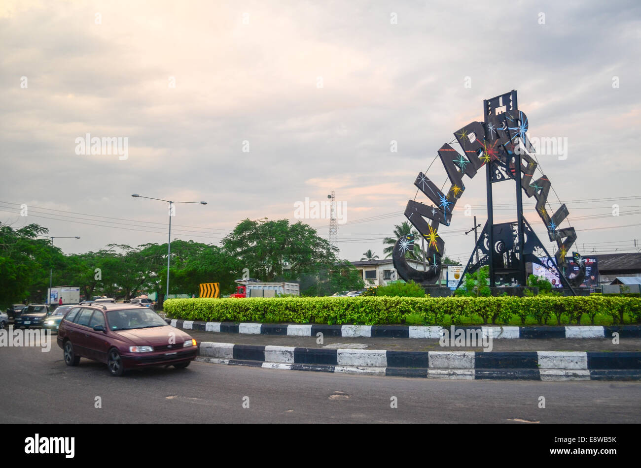 Entrance sign and roundabout of the city of Calabar, Nigeria - Stock Image