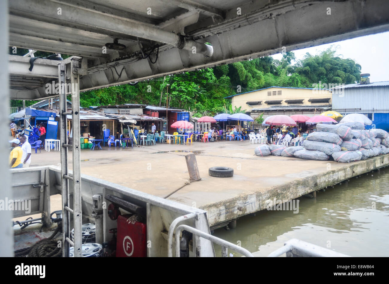 Port of Calabar in the delta of the Cross River, Nigeria - Stock Image
