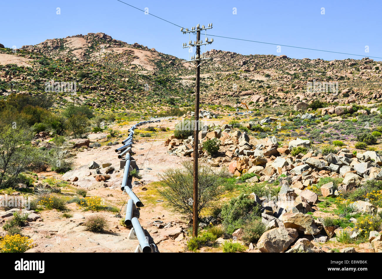 Construction of the water pipeline, Northern Cape, South Africa, bringing water from the Orange river to the city - Stock Image