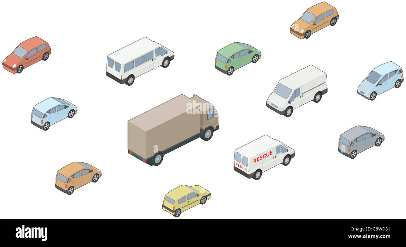 3D, Isometric selection of vehicles Stock Photo