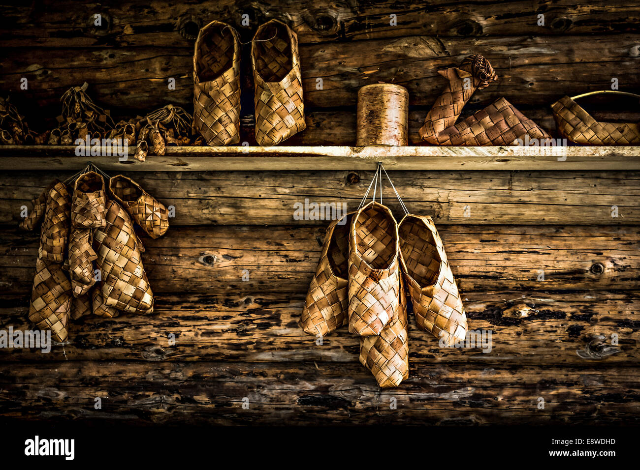 Bast of the bast shoes for sale. All sizes are available including those ones for dwarfs and elves - Stock Image