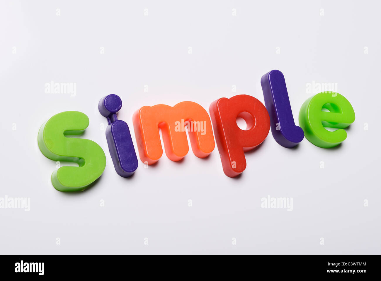 Simple made from magnetic fridge letters - Stock Image