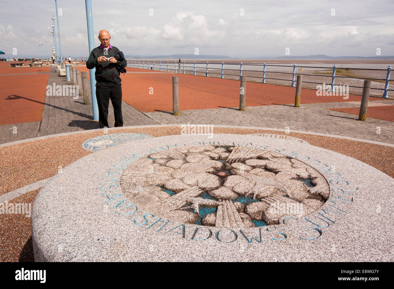 UK, England, Lancashire, Morecambe, Stone Jetty, Tern Project tongue twisters sculpture - Stock Image