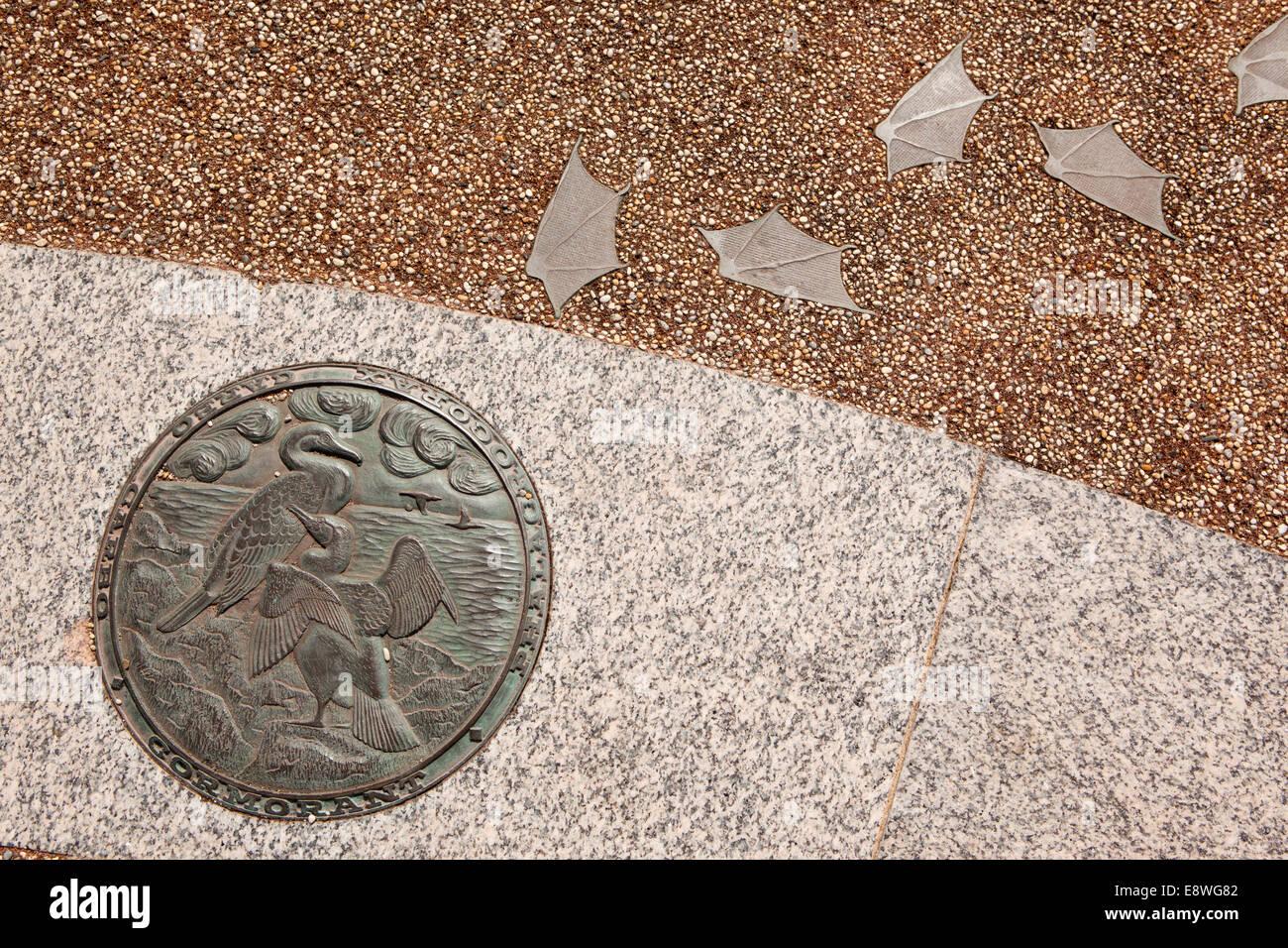 UK, England, Lancashire, Morecambe, Stone Jetty, Tern Project, food chain cormorant bronze sculpture Stock Photo