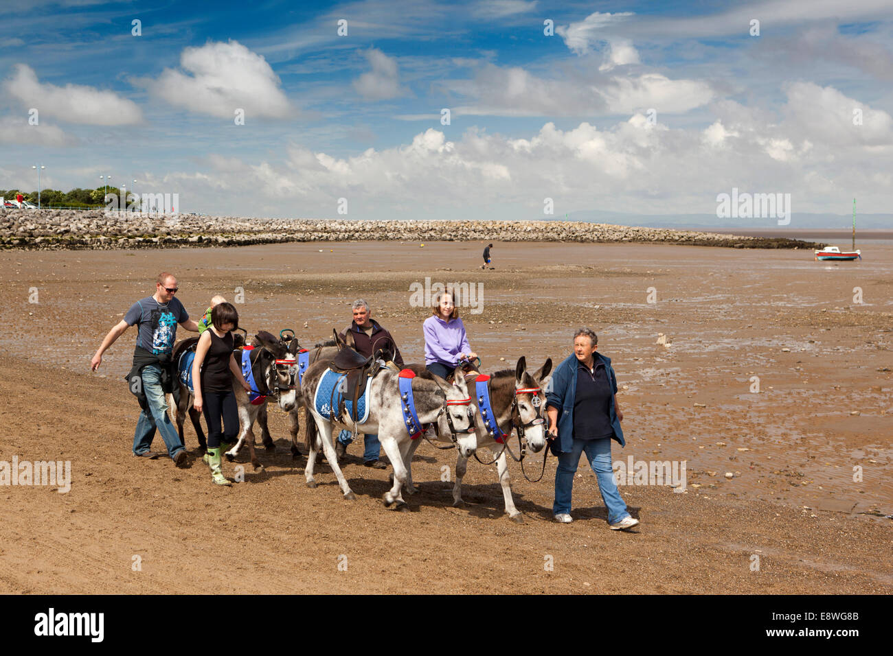 UK, England, Lancashire, Morecambe, sandcastle festival, donkey rides on the beach Stock Photo