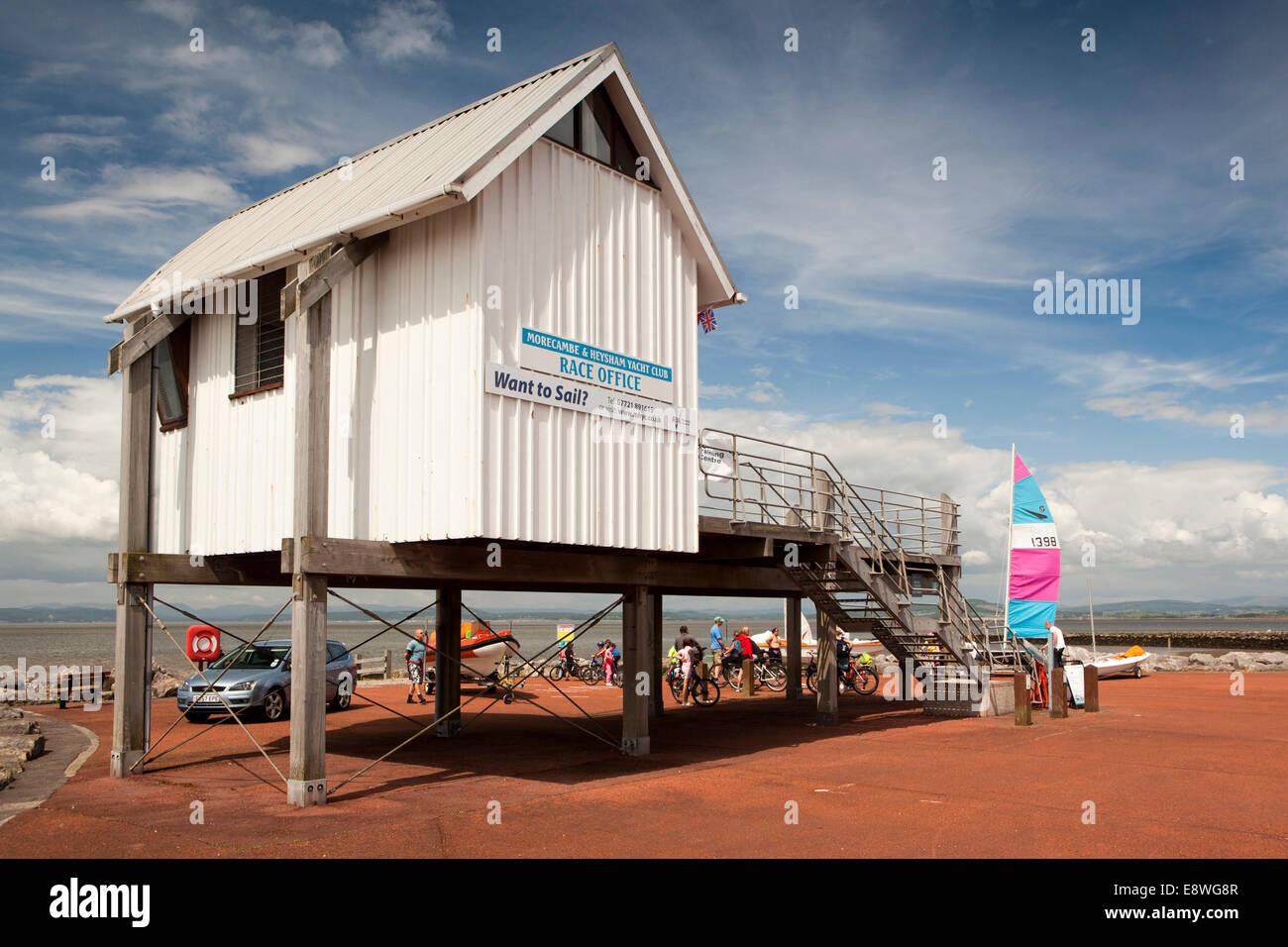 UK, England, Lancashire, Morecambe and Heysham Yacht club building beside Morecambe Bay Stock Photo