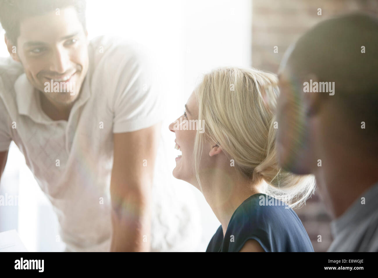 Business people talking in cafe - Stock Image