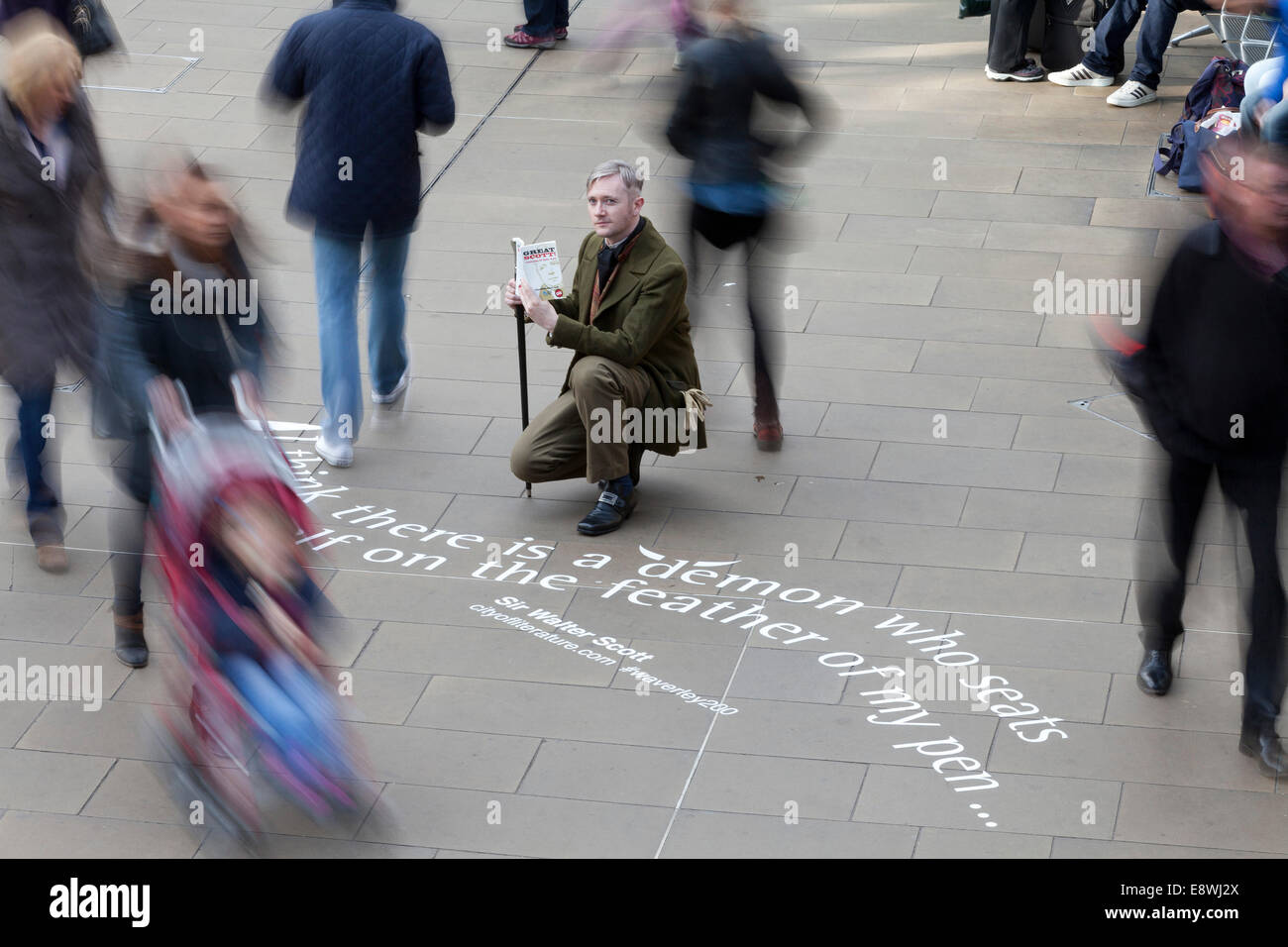 Edinburgh, Scotland, UK. 14th October, 2014. Quotes from Sir Walter Scott's first published novel 'Waverley' - Stock Image