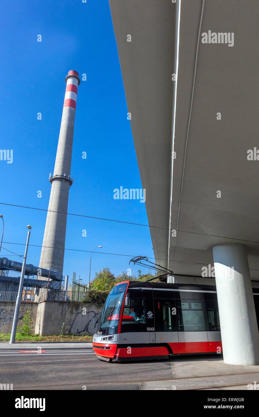 chimney , heating plant, Holesovice, Czech Republic - Stock Image