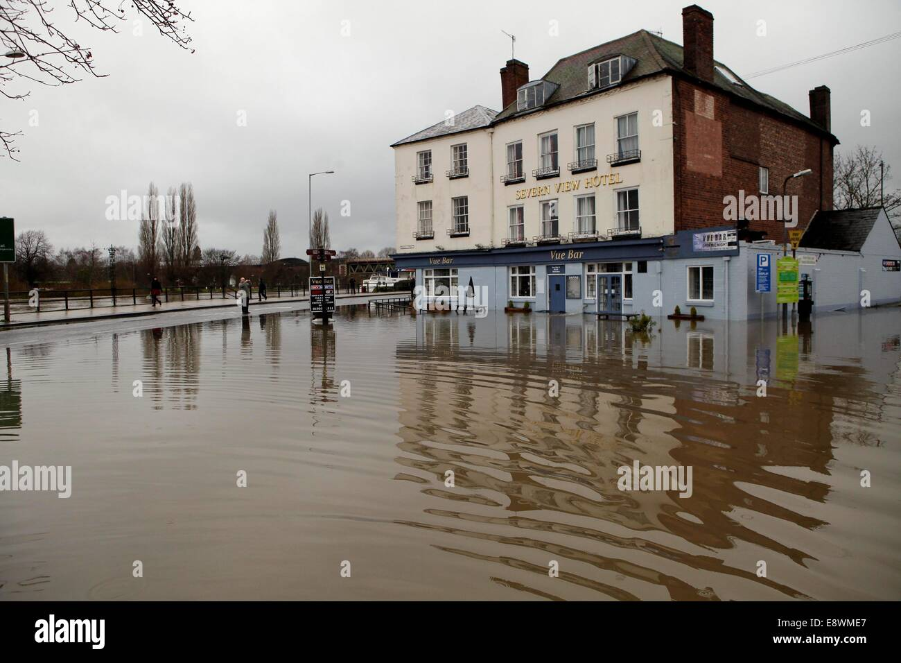 Flooding Worcester as the river severn bursts its banks. - Stock Image