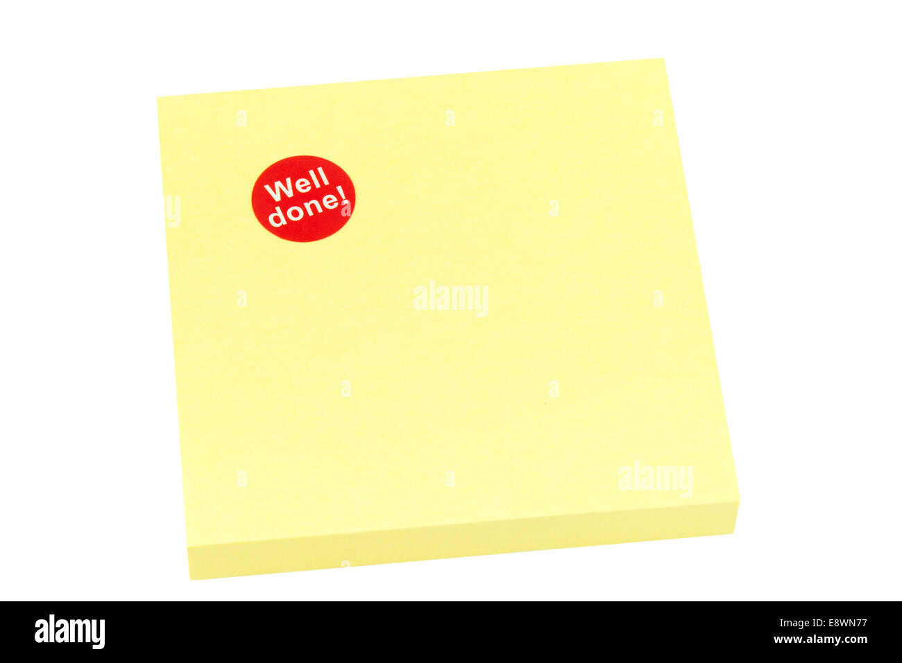 Blank yellow sticky note on a white background - Stock Image