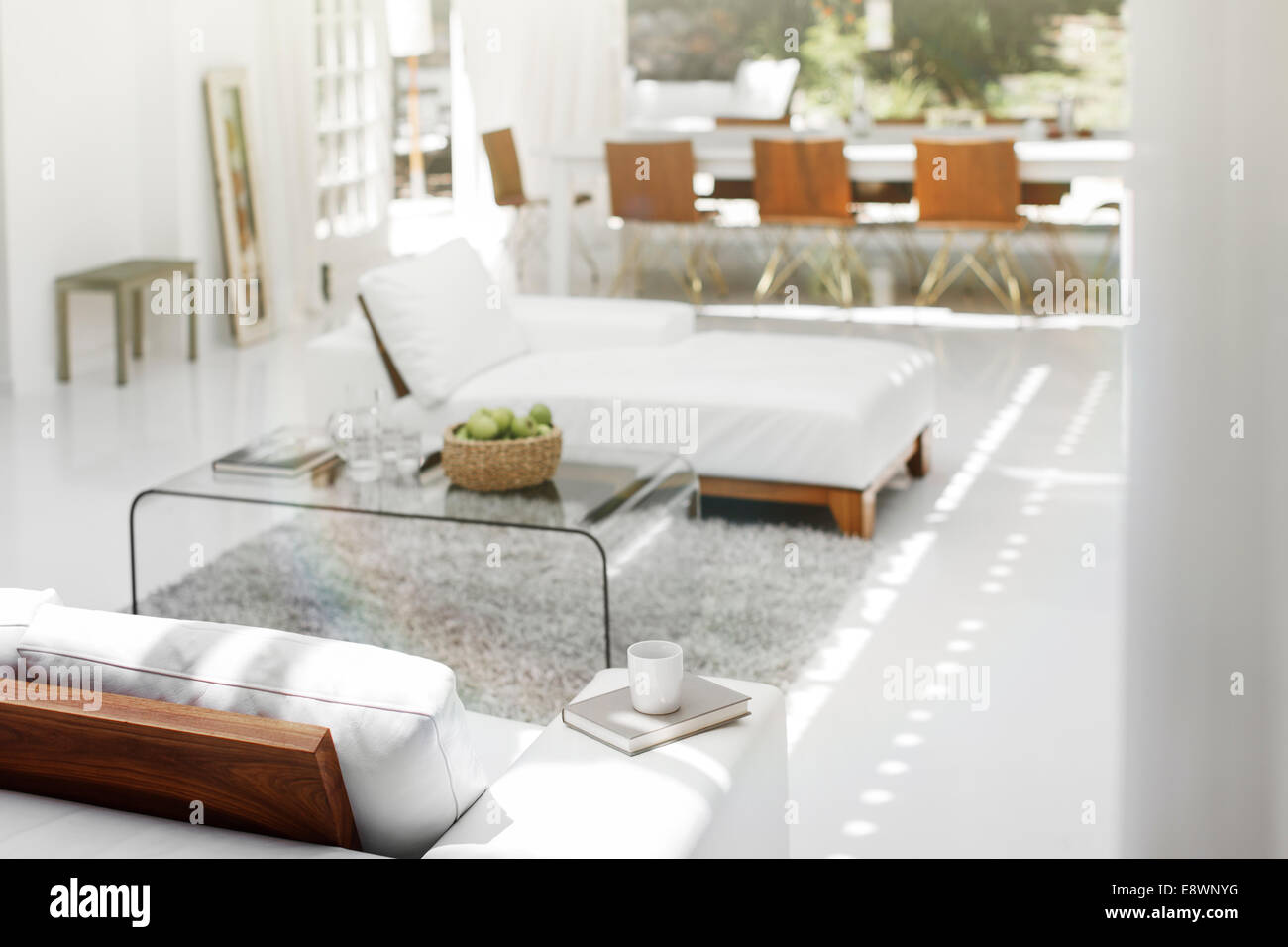 Sofas, coffee table and rug in modern living room Stock Photo ...
