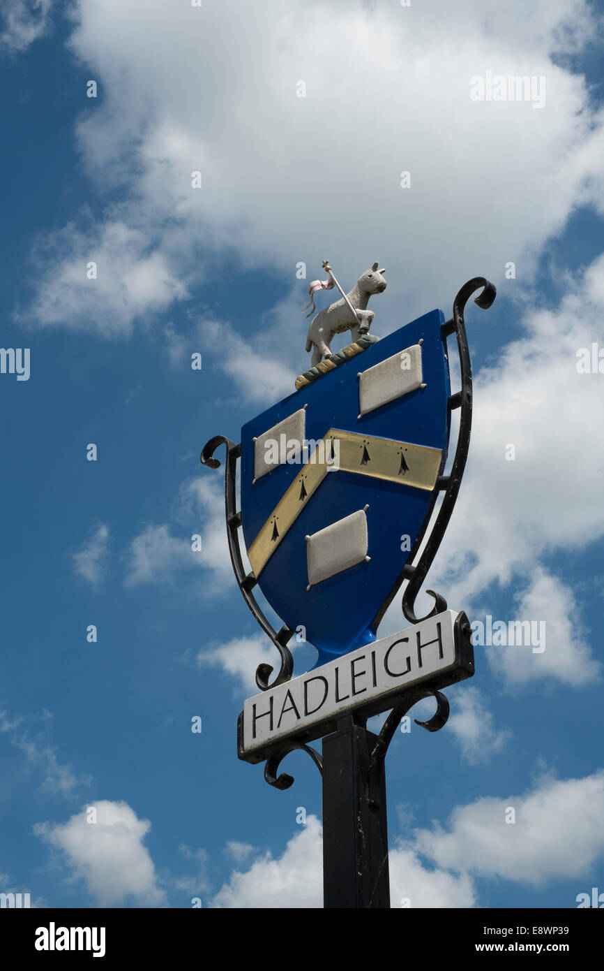 Hadleigh Town sign, Suffolk, England, UK - Stock Image