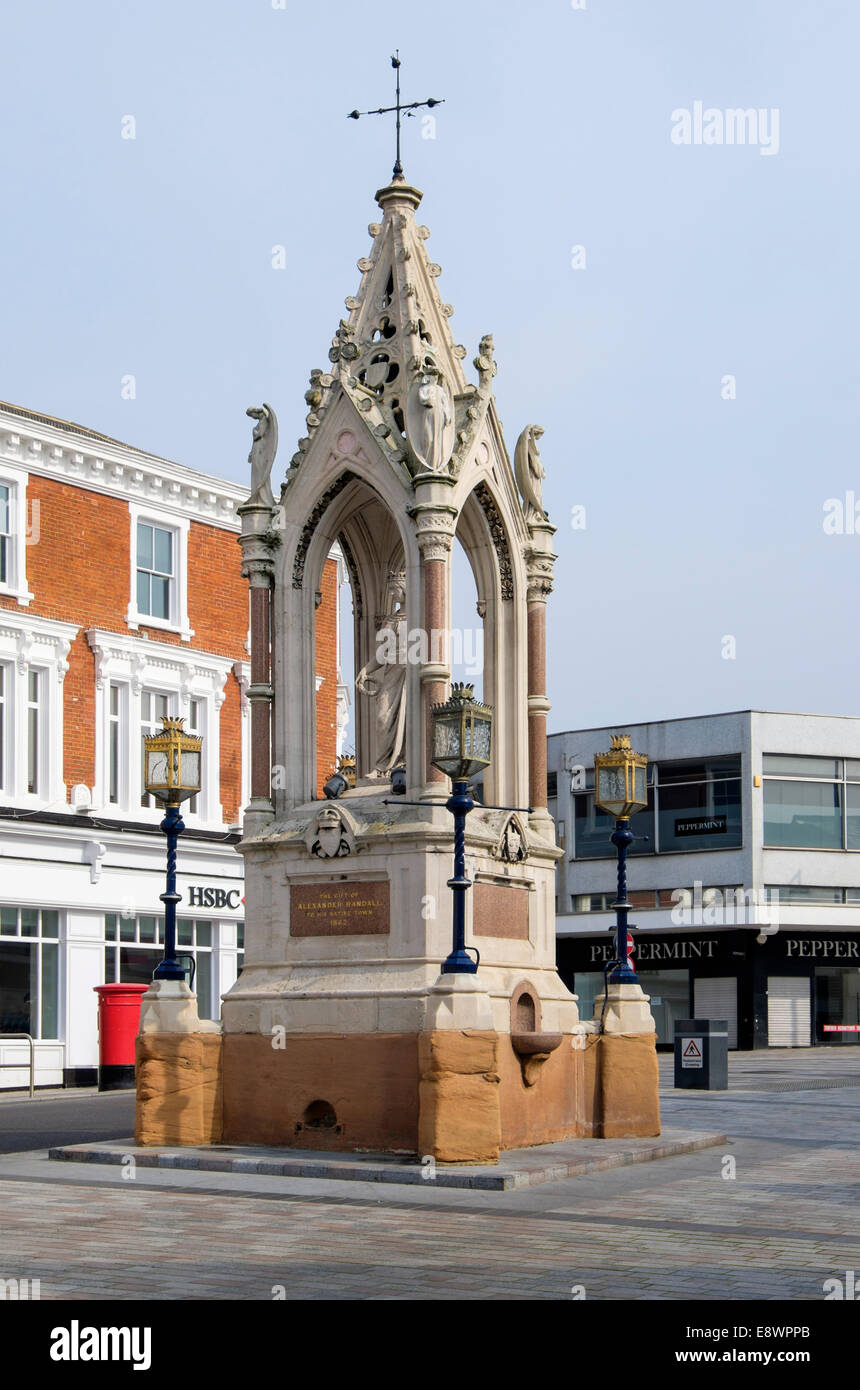 19th century Queen Victoria Monument by Alexander Randall 1862 in the High Street, Maidstone, Kent, England, UK, - Stock Image