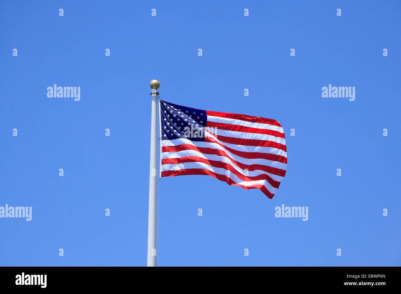 Union Jack at Stearns Wharf in Santa Barbara, California, USA Stock Photo