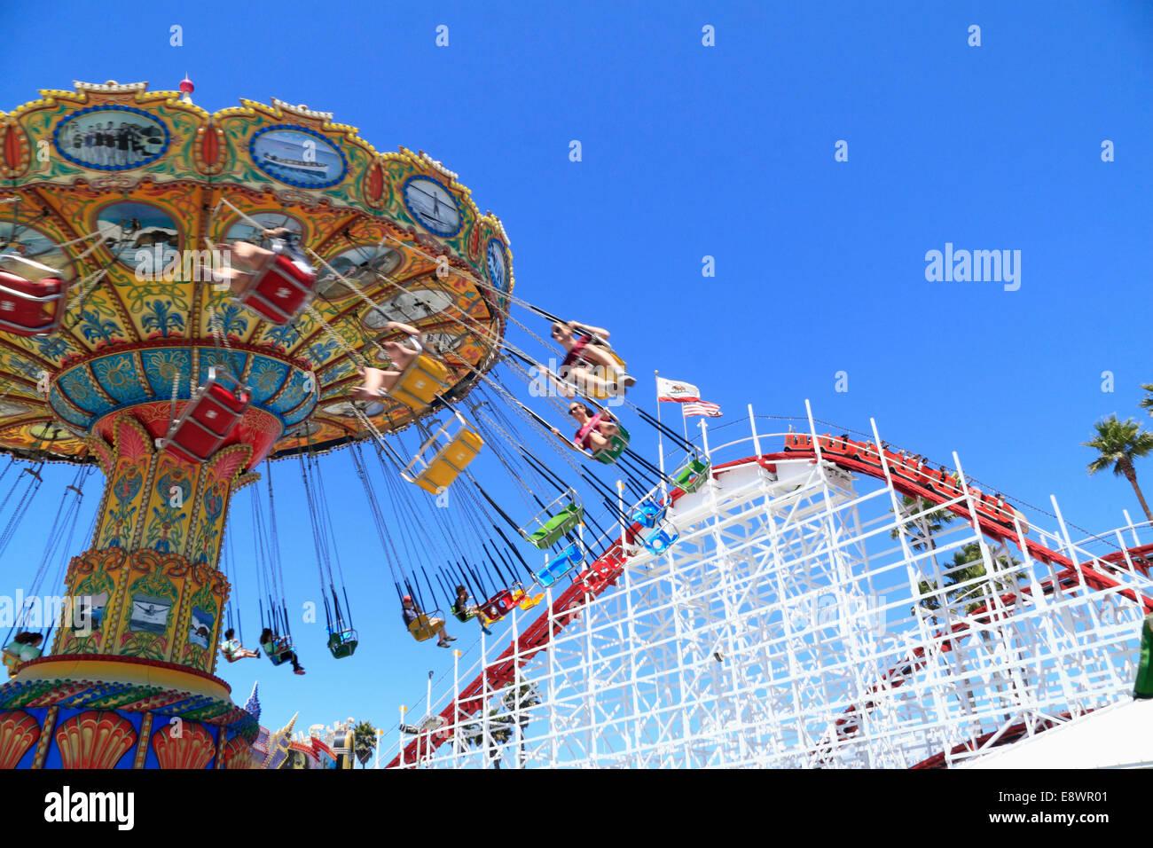 Wooden Roller coaster at Boardwalk amusement Park ,  Santa Cruz near San Francisco, California, USA Stock Photo