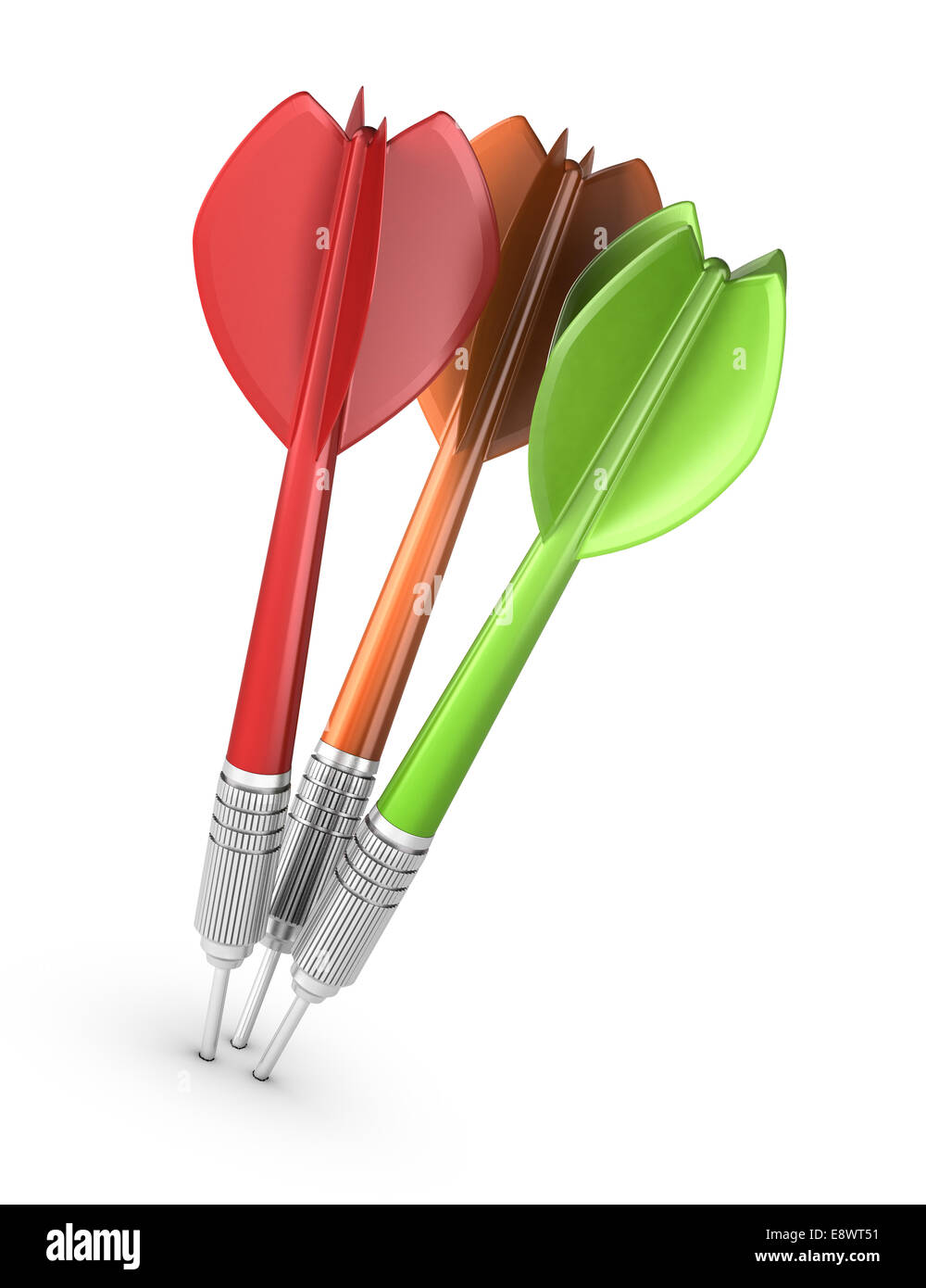 Three darts hitting the center of a dartboard over white background, modern design for illustration purpose. Concept - Stock Image