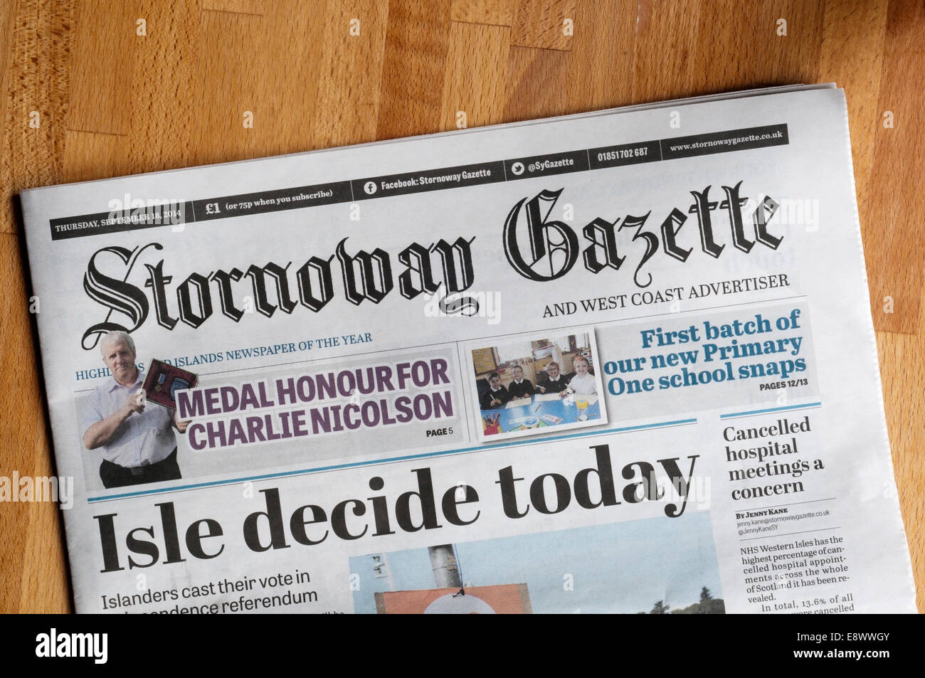 The front page of the Stornoway Gazette newspaper. - Stock Image