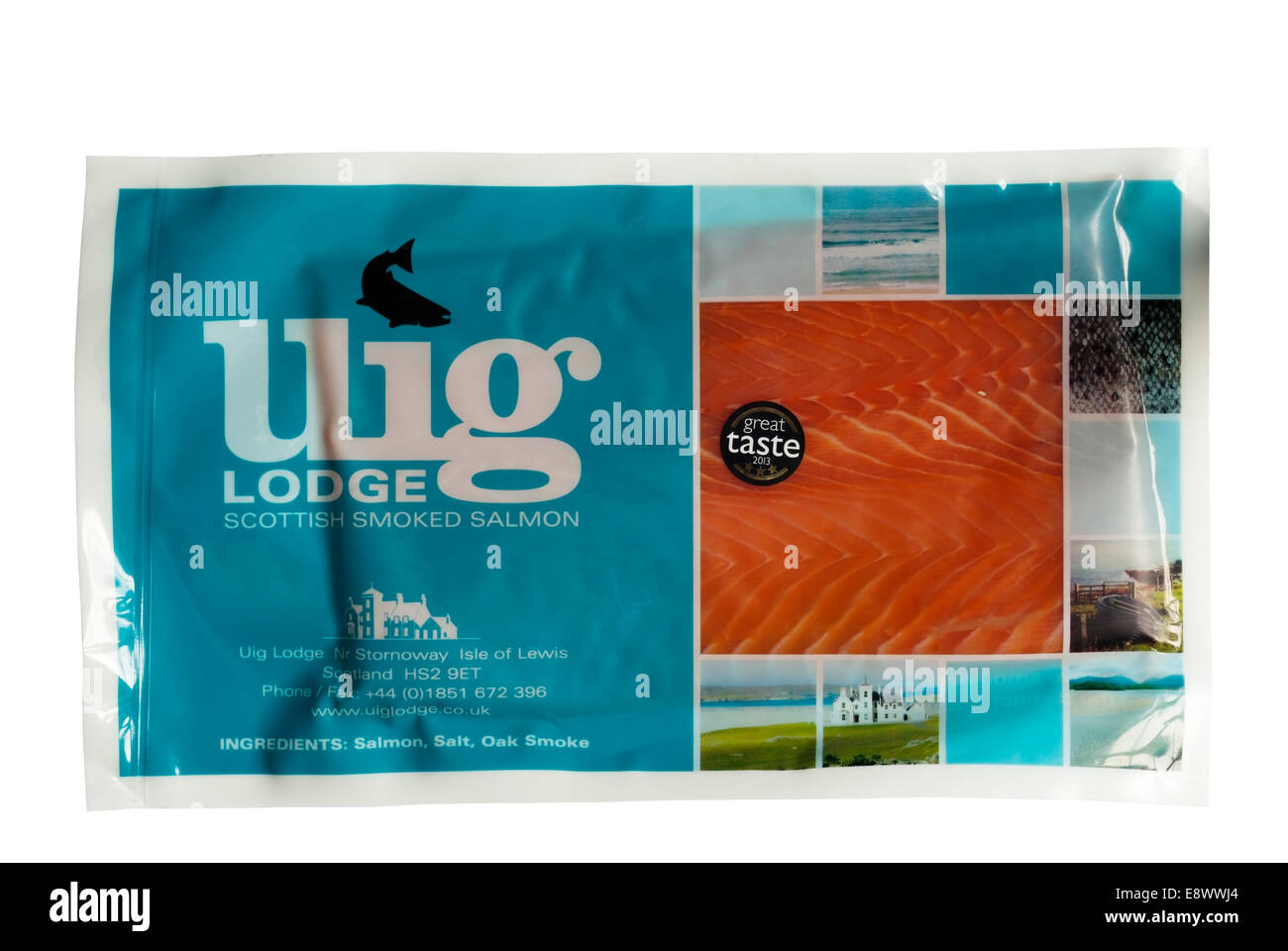 A packet of Uig Lodge Scottish Smoked Salmon from the Isle of Lewis in the Outer Hebrides. - Stock Image