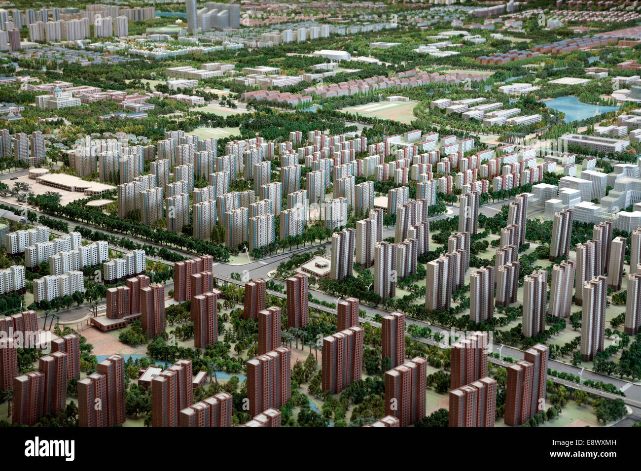 A scale model of Songjiang New City sprawls across the floor of the Urban Planning Museum in Thames Town, Songjiang. Stock Photo