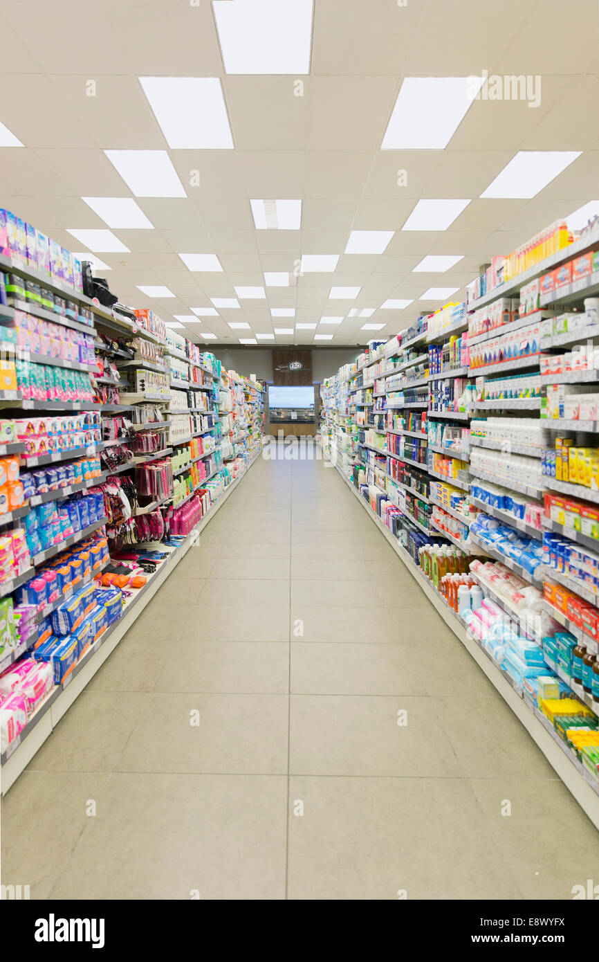 Grocery Store Aisle And Fluorescent Lighting Stock Photo Alamy