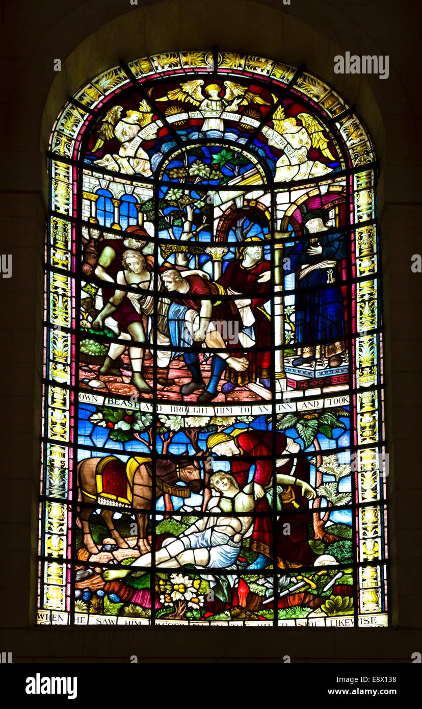 Stained glass window in St Anne's Cathedral, Cathedral Quarter, Belfast, Northern Ireland, UK - Stock Image