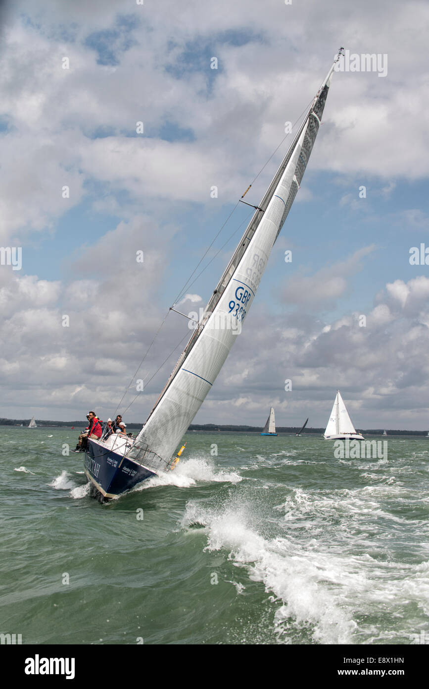 GBR9383R Kabectah sailing yacht racing at the Cowes Week Regatta in the Solent off the South Coast of England Stock Photo