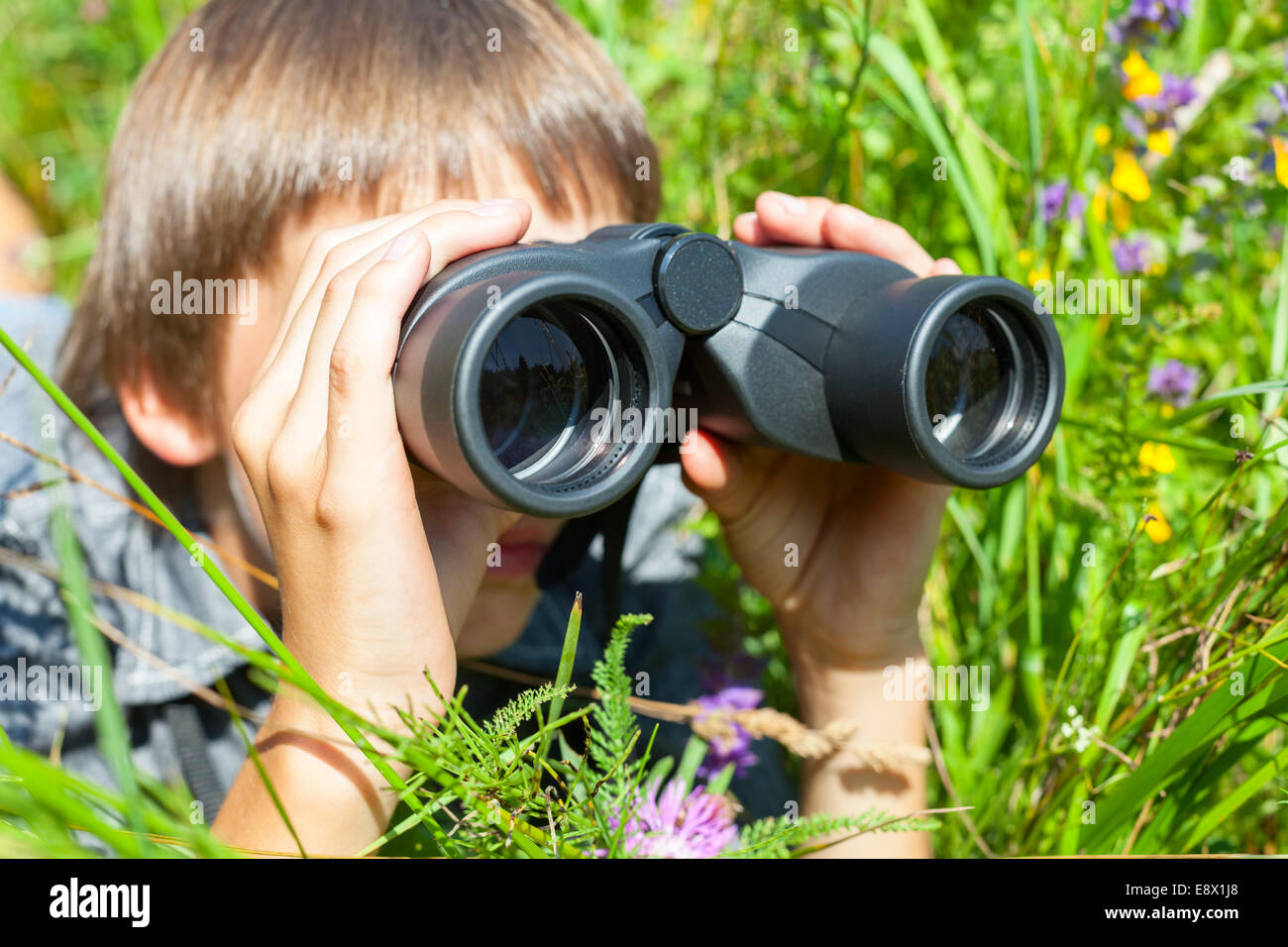 Boy hiding in grass looking through binoculars outdoor Stock Photo