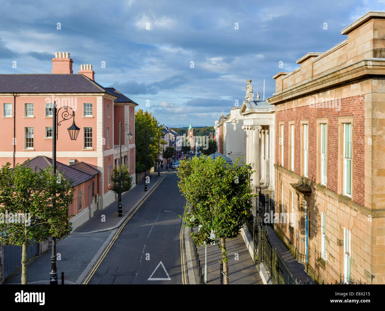 View from the old City Walls down Bishop Street Within in the early evening, Derry, County Londonderry, Northern - Stock Image