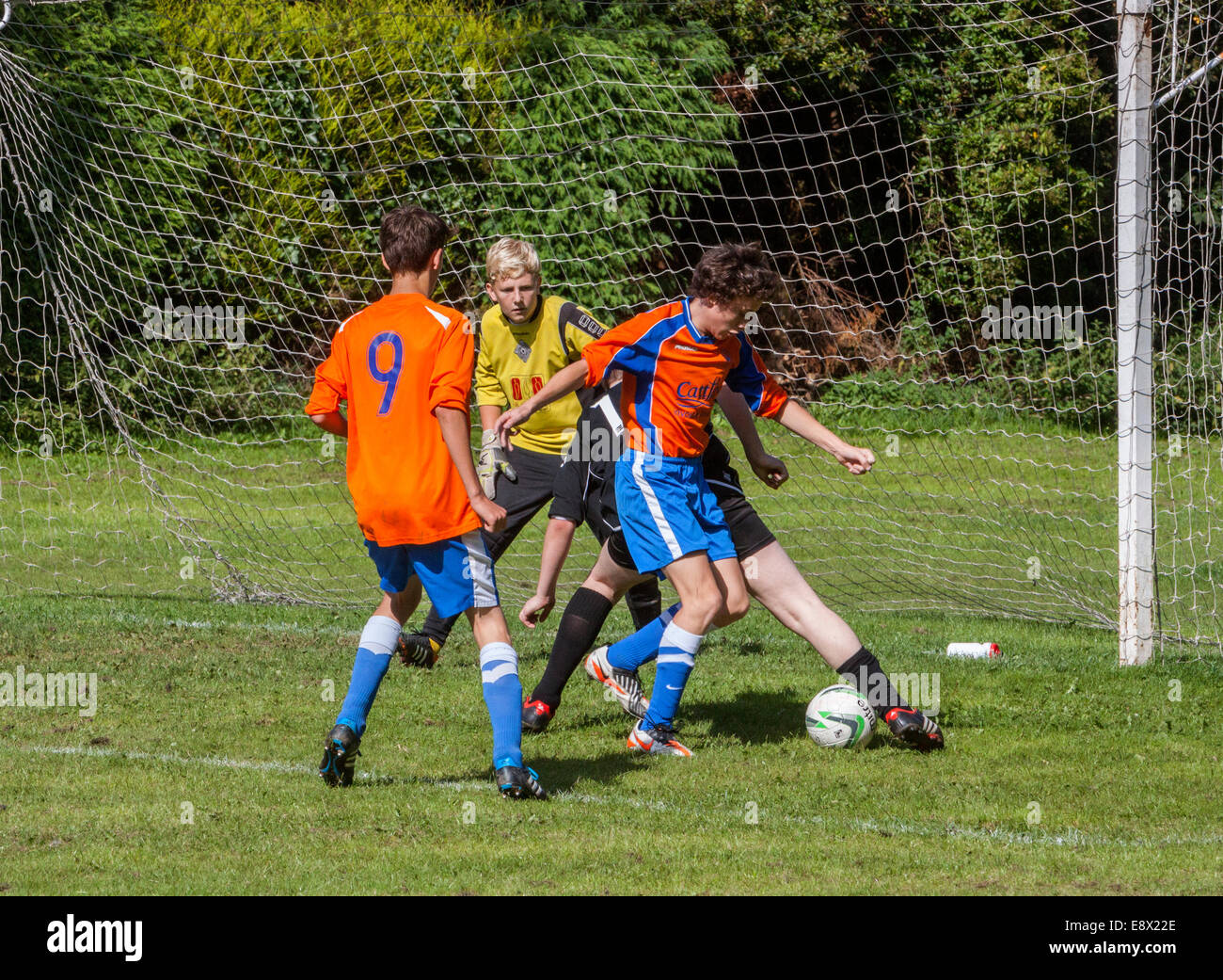 Schoolboy Football Match - Stock Image