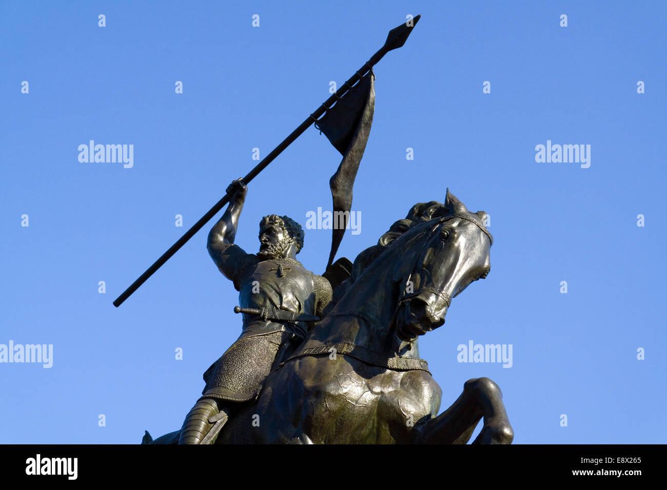 Statue of Rodrigo Díaz de Vivar El Cid Campeador sculpted by Anna Hyatt Vaugh Huntington in Seville, Andalusia, Stock Photo