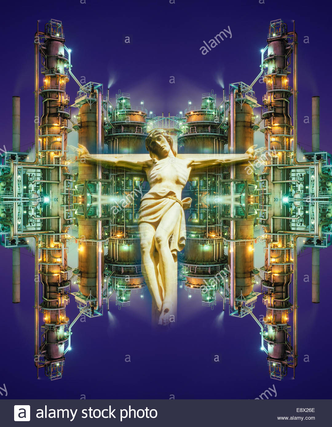 Photo illustration of science as the new religion. - Stock Image