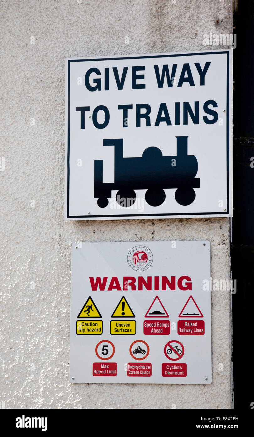 Give Way to trains sign, Bristol Harbour, England - Stock Image