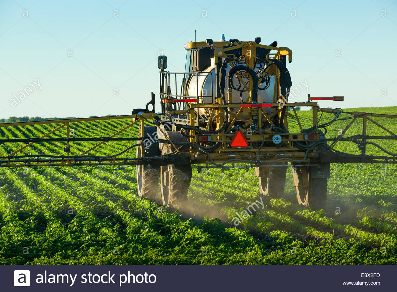 A commercial sprayer applies herbicide to a young, green soybean field in central Iowa to kill broadleaf weeds and - Stock Image
