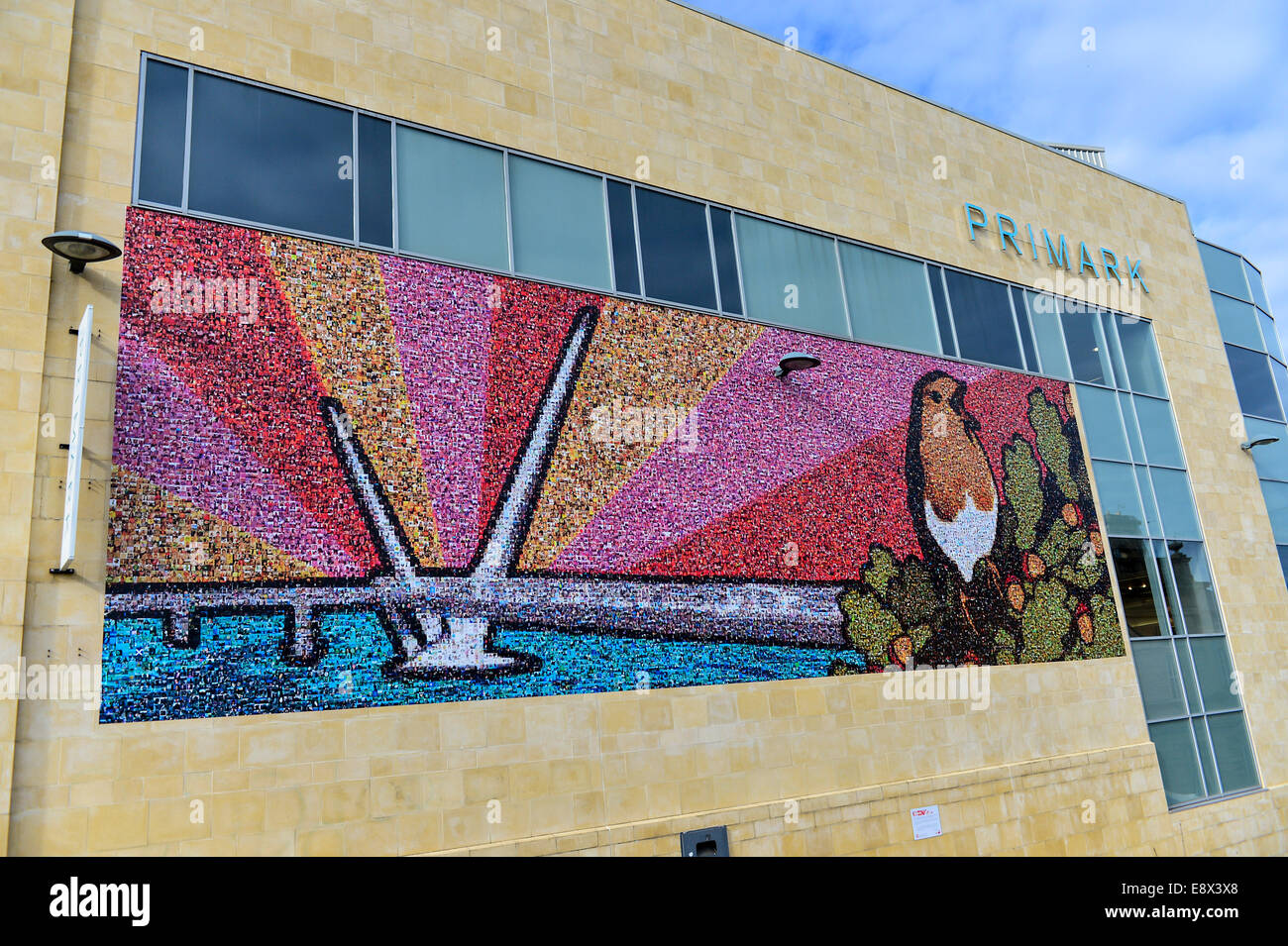 Stock Photo - Mosaic mural on side wall  of Primark shop, Derry, Londonderry, Northern Ireland. ©George Sweeney - Stock Image
