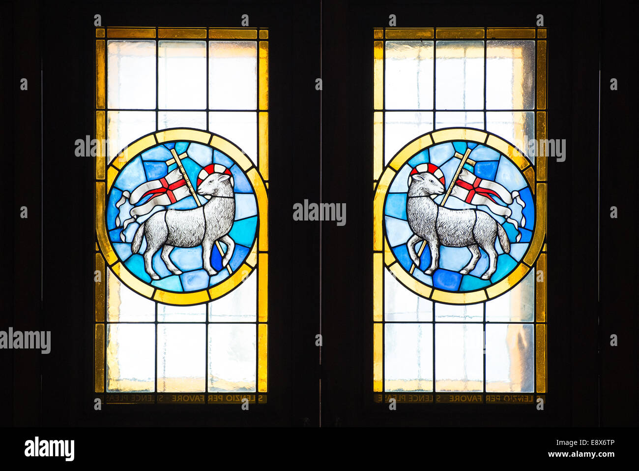 FLORENCE, ITALY - SEPTEMBER 15, 2014: Stained glass window of the Basilica di Santa Maria del Fiore, Florence, Italy Stock Photo