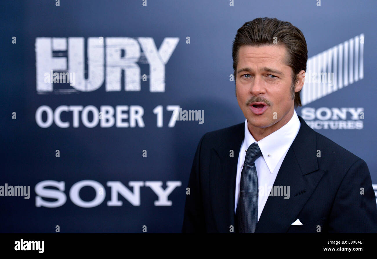 """Washington, DC, USA. 15th Oct, 2014. Actor Brad Pitt attends the world premiere for his new movie """"Fury"""" in Washington, Stock Photo"""