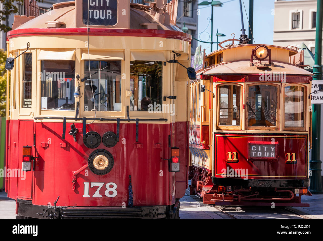 Christchurch Tramway City Tour trams streetcars trolleys trolley cars on Cathedral Square Christchurch New Zealand - Stock Image