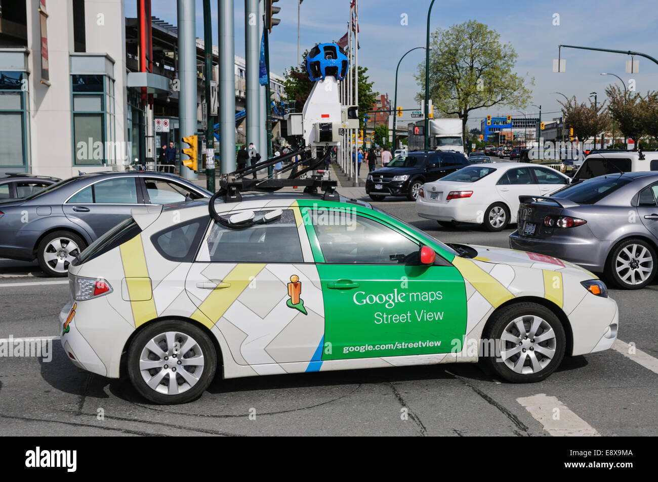 A Google Street View Mapping Vehicle In Car Traffic Vancouver