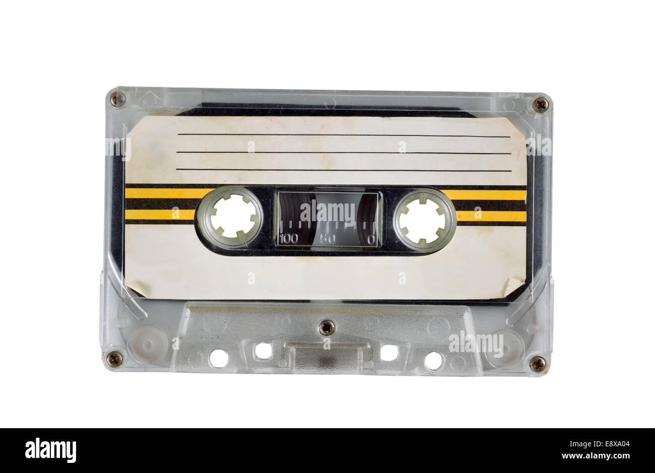 Old Cassette Tape Cartridge on white - Stock Image