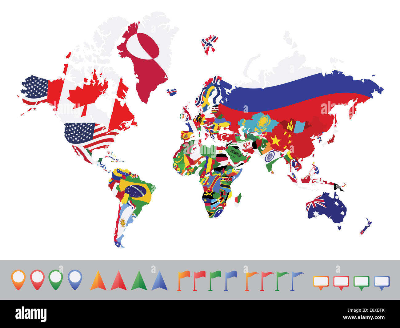 World map with flag - Stock Image