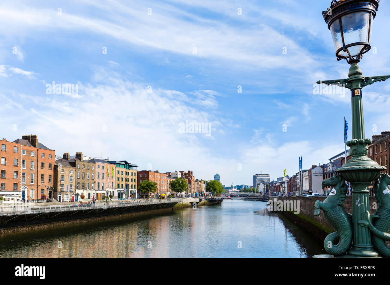 River Liffey from Grattan Bridge, Dublin City, Republic of Ireland Stock Photo