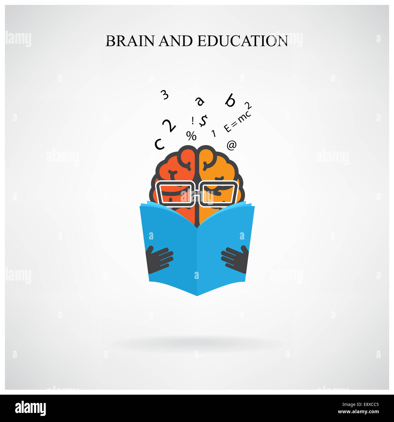 creative brain sign and book symbol on background design for poster flyer cover brochure business idea education concept