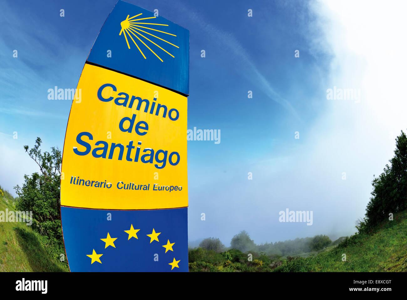 Spain, Galicia: Signal of the St. James Way Route Camino de Santiago in O Cebreiro - Stock Image