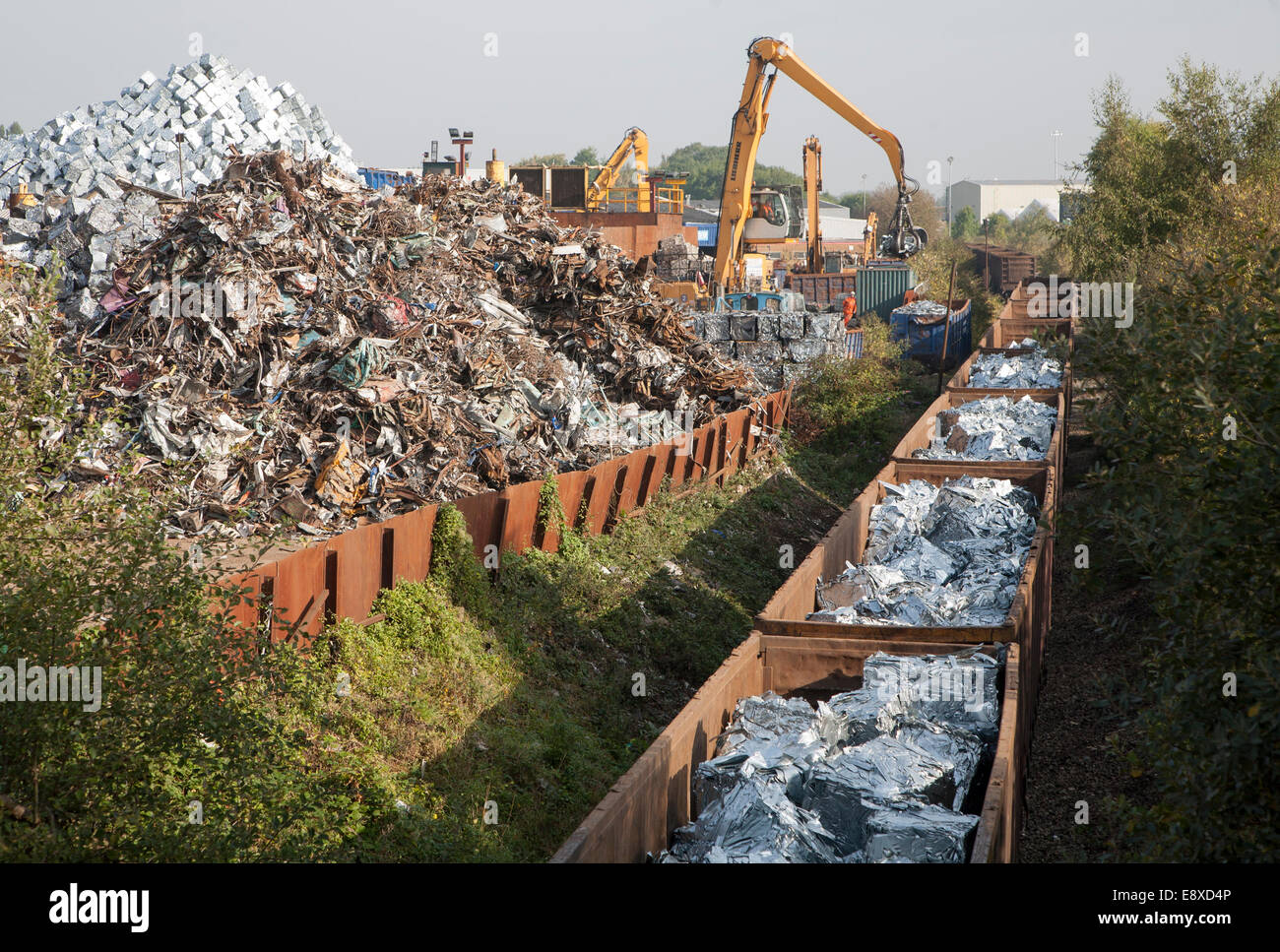 Scrap metal recycling loading train wagons with processed metals, EMR company, Swindon, England, UK Stock Photo